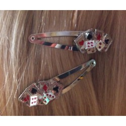 2  pince cheveux poker jeux cartes  pin up rockabilly