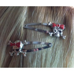 2  pince cheveux tete de mort fillette  pin up rockabilly