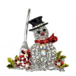 broche noel bonhomme de neige et balai strass femme pin up