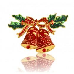 broche de noel paire de cloches rouge et or idéal pin up