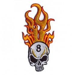 patch crane 8 flammes verticales ecusson tete de mort