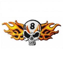 patch crane 8  flamme horizontal ecusson tete de  mort