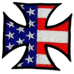 patch croix malte drapeau USA ecusson rock roll biker moto