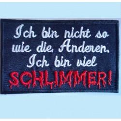 patch allemand humour ich bin viel schliemmer ecusson rock