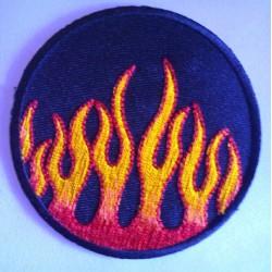 patch rond a flammes ecusson flamming rock roll biker punk