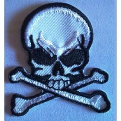 patch crane pirate tete de mort ecusson thermocollant biker