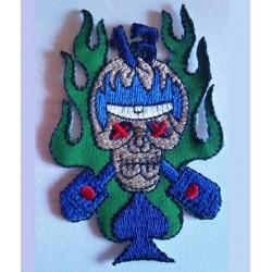 patch crane piston bleu et vert ecusson biker rock roll