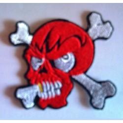 patch crane rouge et éclair noir ecusson tete de mort biker