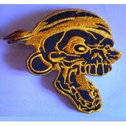 patch crane pirate noir jaune ecusson biker tete de mort