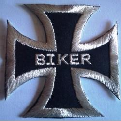 patch croix de malte noir inscription biker ecusson motard