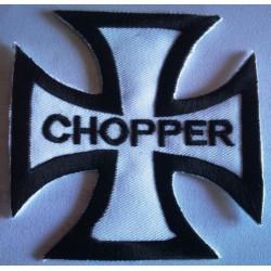 patch croix de malte blanche  inscrit chopper ecusson biker