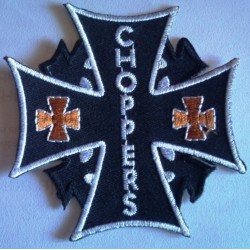 patch croix de malte noir chopper et petite croix orange