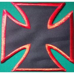 gros patch croix malte noir rouge 18cm ecusson dos veste