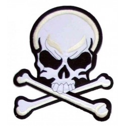 gros patch crane pirate blanc 22cm dos veste ecusson mort