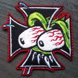 patch croix de malte et oeil  rat fink ecusson hotrod kustom