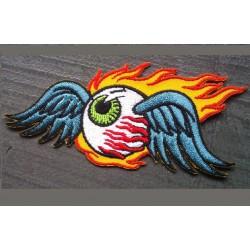 patch oeil volant a flammes colorée ecusson rock roll hotrod