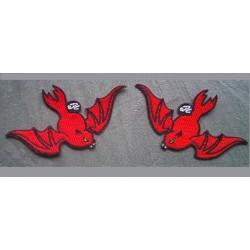 2 patch chauve souris rouge ecusson rockebilly veste pin up