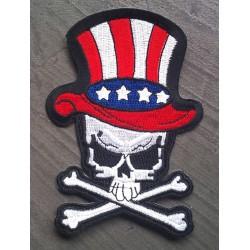 patch crane oncle sam et chapeau drapeau americain biker