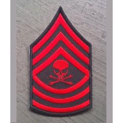 patch épaulette crane rouge style militaire ecusson rockab