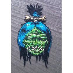 patch shrunken head vert bouche cousu monstre ecusson