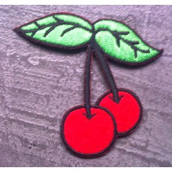 patch 2 cerises rockabilly ecusson  pin up rock roll cherry