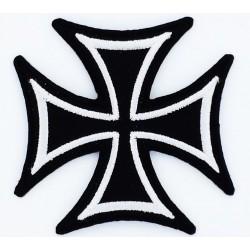 patch croix de malte noir argent ecusson rock roll biker