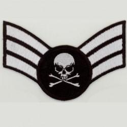 patch MINI épaulette crane blanc ecusson tete de mort biker