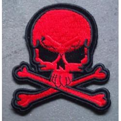 patch crane pirate rouge ecusson bike tete de mort os