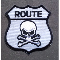 patch blason route crane ecuson thermocollant tete de mort