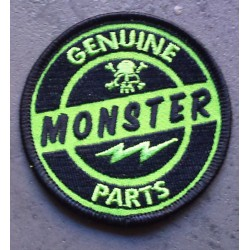 patch genuine monster parts rond noir vert ecusson rock roll