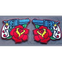 2 patch pistolet et rose rockabilly ecusson flingues rock