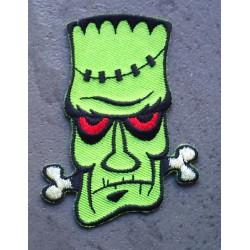 patch frankenstein vert et yeux rouge os blanc rockab