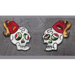 2 patch cranes rigolos à chapeau rouge ecusson rock roll