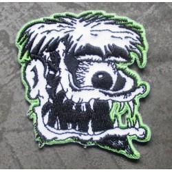 patch monstre cyclope gris vert ecusson rock roll biker punk