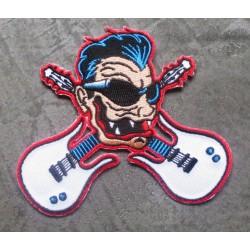 patch rocker avec lunette de soleil et 2 guitares ecusson