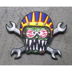 patch monstre avec casquet moto  et clés ecusson rockabilly