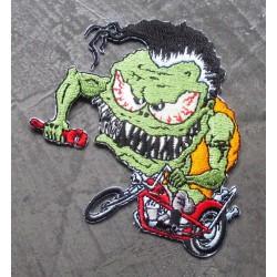 patch monstre vert a moto chopper ecusson rock roll biker