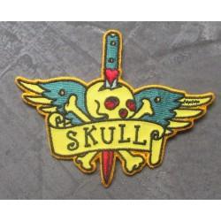 patch skull rockabilly epée qui traverse un crane ecusson