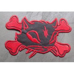 gros patch chat pirate noir rouge dos 19,5cm ecusson pinup