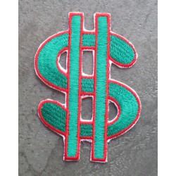 patch dollar sigle vert ecusson rock roll punk rockab biker