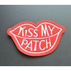 patch kiss my patch levre bouche ecusson rock roll biker