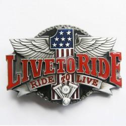 boucle de ceinture live to ride mbiker moto chopper homme