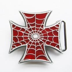 boucle de ceinture croix de malte tole d'araignée rouge