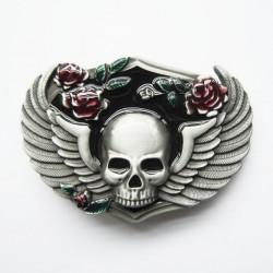 boucle de ceinture crane aillé et roses tete de mort homme