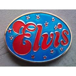 boucle de ceinture elvis presley bleu et etoile rouge king