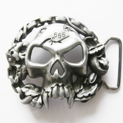 boucle de ceinture crane 666 en 3D biker homme rock roll