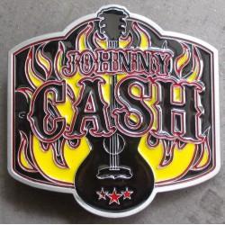 boucle de ceinture johnny cash guitare noire et flammes rock