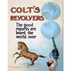 plaque colt's pistolet revolvers tole deco publicitaire usa
