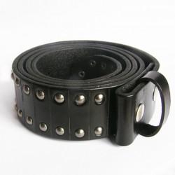 XL 125cm ceinture en cuir véritable noir et rivet homme femme