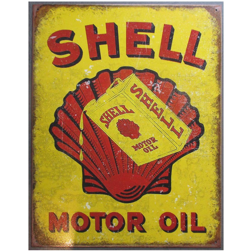 plaque shell motor oil avec vieux bidon et coquillage tole